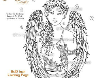 Angels coloring book | Etsy