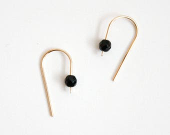 Gem Arc Drop Earrings - Black Onyx - 14k Gold Filled Geometric Minimal Delicate Gemstone Earrings