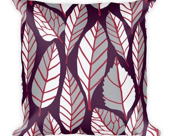 Beautiful trend-forward grey, wine and plum leaves nature natural hand-drawn pattern on gorgeous Square Pillow Home Decor