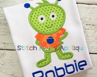 Space Alien Boy Outer Space Machine Applique Design