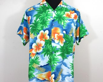 Vintage Men's Tropical Rayon Shirt by Watanmal - Colorful Bahama print - L/44 chest