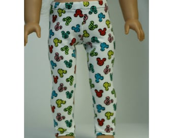 Mouse Leggings, made to fit American Girl Dolls, 18 inch Doll Leggings, 18 inch doll clothes, 18 inch doll leggings