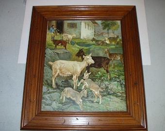 Billy Goats Flock Pastural Farm Herder Artist August Specht Original German 1901 Antique Chromolithograph Wood Frame Picture Home Decor