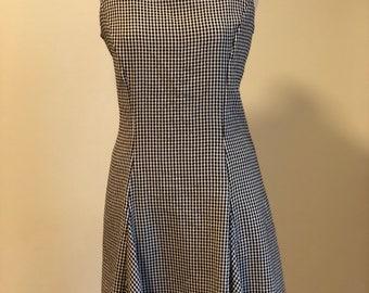 1990's Black and White Gingham Picnic/Skater Dress