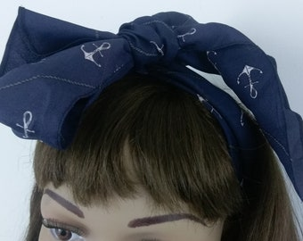 Vintage Anchor Pattern. Print Scarf. Scarve. Head Scarf. Blue & White. Neck Scarf.