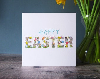 Happy Easter Card - Easter Card - Spring Illustration Easter Card - Pack of 5 Easter Cards