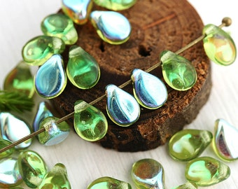 Olivine PiP beads, Olive Green, AB finish czech glass flat drops, top drilled, Preciosa, green teardrops,  5x7mm - 40Pc - 2823