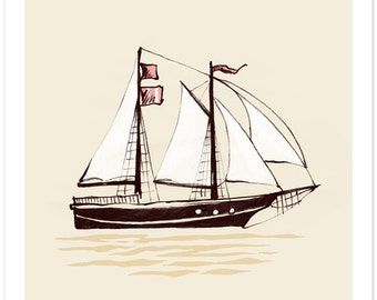Children's Wall Art Print - Set Sail (CREAM) - Kids Nursery Room Decor