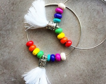 Rainbow hoop earrings with tassels