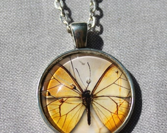 Yellow Butterfly Collage Antiqued Silver Pendant