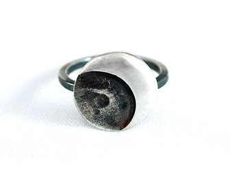 Ring MOON Sterling Silver Matte and Black