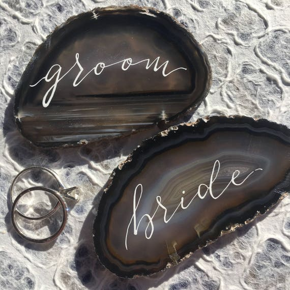 Agate Slice Wedding Place Cards