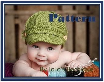 PDF Newsboy Hat PATTERN with BONUS Sizes - Baby Newsboy Hat Patten - Newborn to 12 Month Sizes -Crochet Newsboy Hat - by JoJosBootique