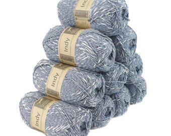 10 x 50g recycled Yarn Indy, color 013 Blue-White