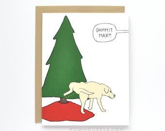 Funny Christmas Card - Dog Christmas Card - Funny Holiday Card - Christmas Tree