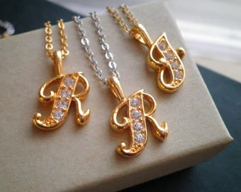Brass & Rhinestone Letter R or F Charm Necklace - Vintage 80s Cursive Gold Initial Pendant - Personalized Retro Letter Jewelry Gift For Her