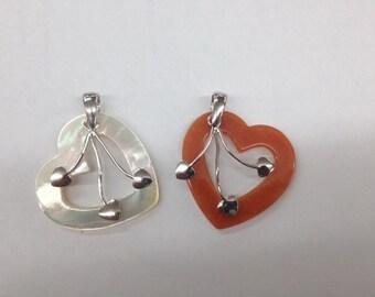Sterling Silver Heart MOP Pendant