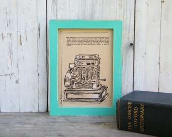 Cha Ching, New Business Gift, Rustic Framed Art, Antique Cash Register Print, Dictionary Art, Business sign, Home & Living, Paper Print