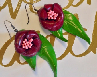 Vintage Leather Floral Earrings