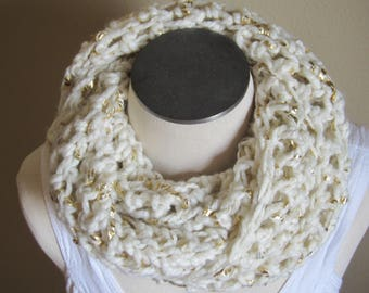 Crochet Cowl,Cowl,Infinity Scarf,Boho,White & Gold,Hooded Scarf,Women's Fashion,Teen Scarf,Designer Cowl,Metallic Scarf,White Cowl,Fashion