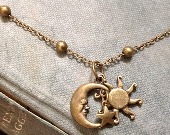 You Are My Sun, My Moon & All My Stars Necklace, Solid Bronze, Israeli Jewelry (Gift Boxed)