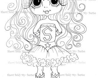 INSTANT DOWMLOAD Digital Digi Stamps Big Eye Big Head Dolls Digi  My Besties IMG859 By Sherri Baldy