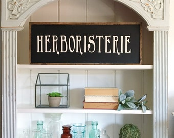 Herboristerie Sign, Gift for Her, Gift, Herboriste Sign, Herbalist Sign, Fixer Upper Style, Farmhouse Decor