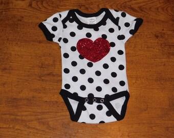 Polka dot with glitter heart