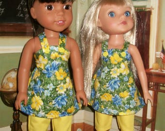 Yellow Capri's & Blue Floral dress top for 13-14.5 inch dolls