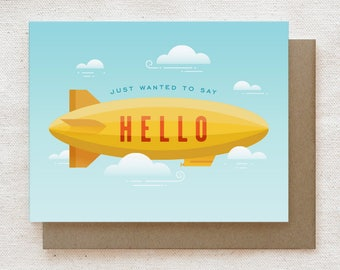 Hello Card, Hello Cards, Everyday Card, Friendship Card, Just Because Card, Thinking of You, Any Occasion - Blimp