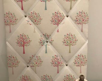 Fabric memo board with pink trees pattern 40cm x 50cm