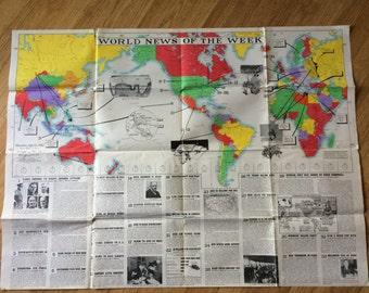 Vintage World War 2 Newsmap Poster ~ January 12, 1942