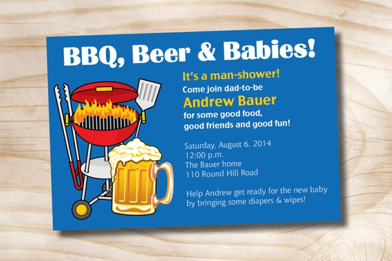 MAN SHOWER bbq beer and babies Diaper Party Invitation