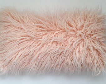 Faux Fur peach Pillow, Peach Throw Pillow Cover,  Pink pillow, Toss Pillow, Gift for her, Home decor, Mongolian faux fur, Peach Pink Cushion