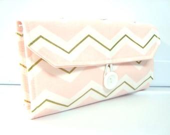 Cash Envelope Wallet  / Dave Ramsey System / Zipper Envelopes / Cash Envelope System - Pink and White Gold Glitz Chevron