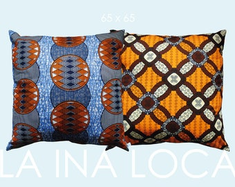 Casual ethno pillow with original African Waxprint