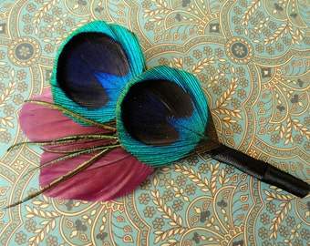 ANGEL Peacock and Purple Feather Boutonniere, Wedding