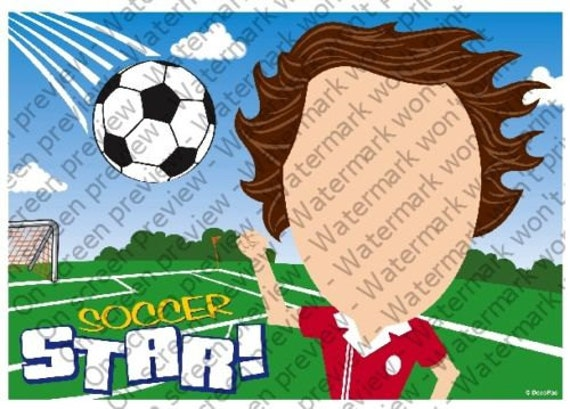 Soccer Player Birthday - Edible Cake and Cupcake Photo Frame For Birthday's and Parties! - D4085