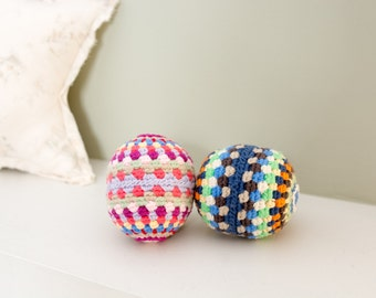 Crochet baby toy rattle ball in organic cotton