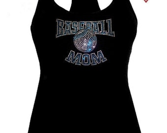 New Rhinestone Baseball MoM sports Racer Back Tank Top Shirt, Missy Size XS to 2XL free shipping