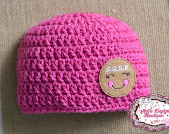 baby gingerbread beanie, pink beanie, christmas hat, crochet gingerbread girl beanie, shower gift, winter hat, ready to ship,  0-3 month hat