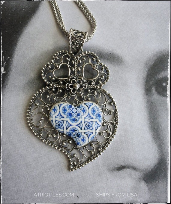 Necklace Portugal Silver Filigree Pendant Filigrana with Azulejos from Aveiro Gift Box Included Reversible Mother's Day Ships from USA