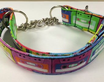Retro Cassettes Martingale or Adjustable Dog Collar Size M, L or XL