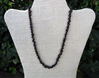 "Garnet gemstone crystal chip necklace, deep red stone necklace, healing stone necklace, 16"" gemstone necklace, AMWH1"