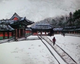 Chandeok Palace Painting 16x20 inches Acrylic on canvas