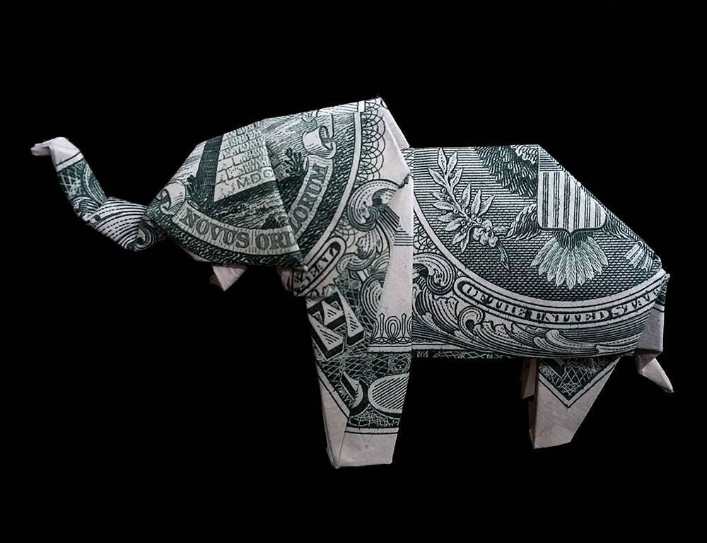 Money Origami Elephant Sculpture 3d Art Gift Figurine Folded