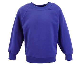 Purple Sweatshirt, cotton/polyester, raglan sleeves, soft brushed inside for warmth and comfort.   Made in England.  6 childs sizes W10