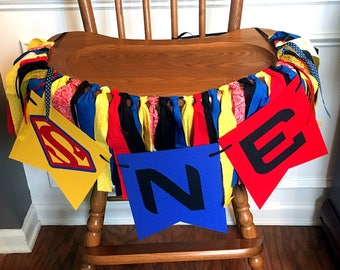 Superman Inspired Fabric ONE High Chair Banner or Photo Prop