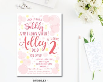 Bubbles Birthday Invitations
