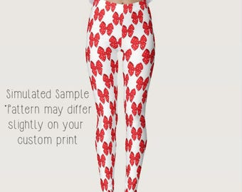Red and White Polka Dots Bow Leggings, Custom Printed, Yoga Pants, Exercise, Work Out, Minnie, Hair, Mouse, Happiest Place  XS-XL - Bows 1
